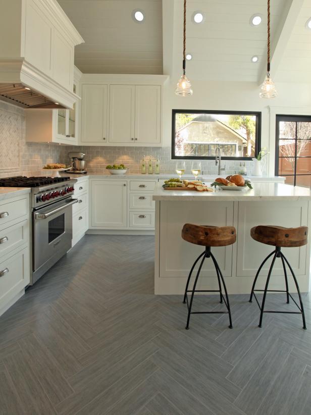 Kitchen With Herringbone Patterned Flooring