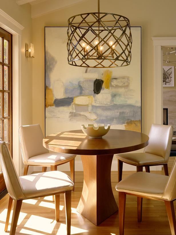 Breakfast Nook With Basketweave-Style Modern Chandelier