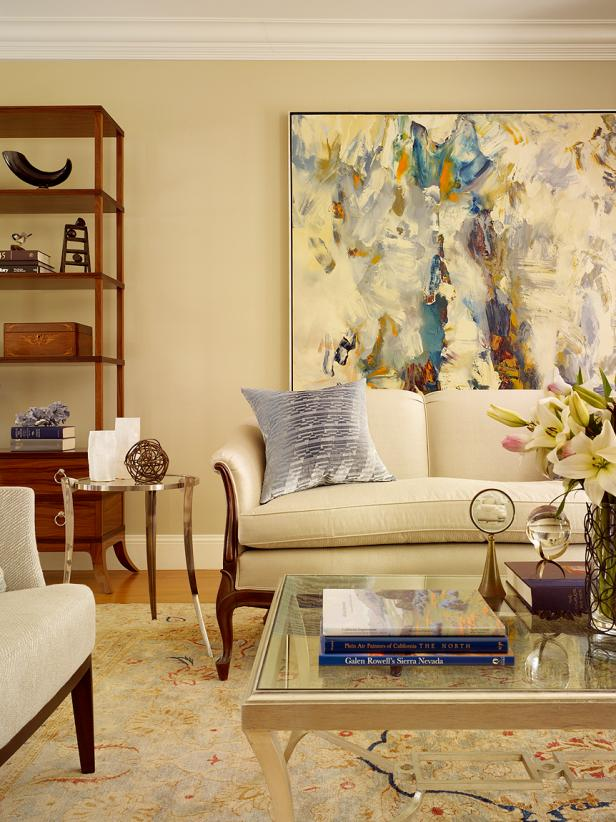 Contemporary Living Room With Neutral Walls and Large Artwork