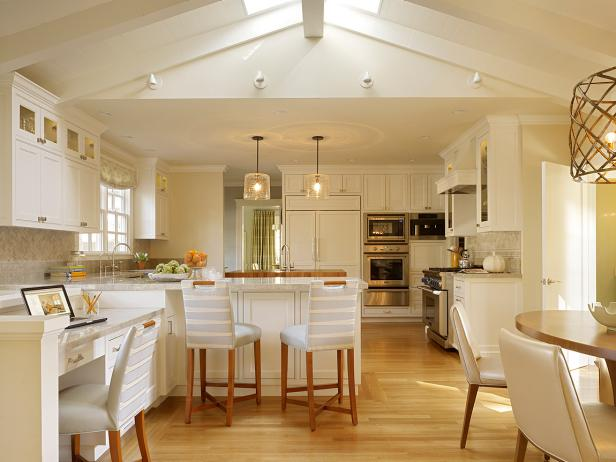Vaulted Ceiling in Contemporary White Kitchen
