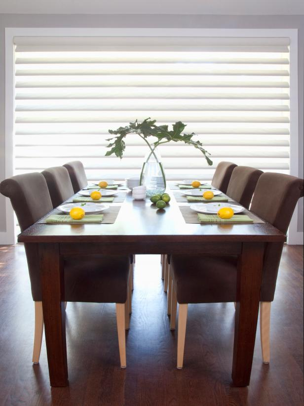 Modern Dining Area with Louvered Sheer Window Treatments