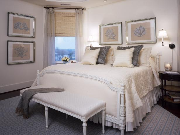 White and Beige Bedroom With Gray Accents