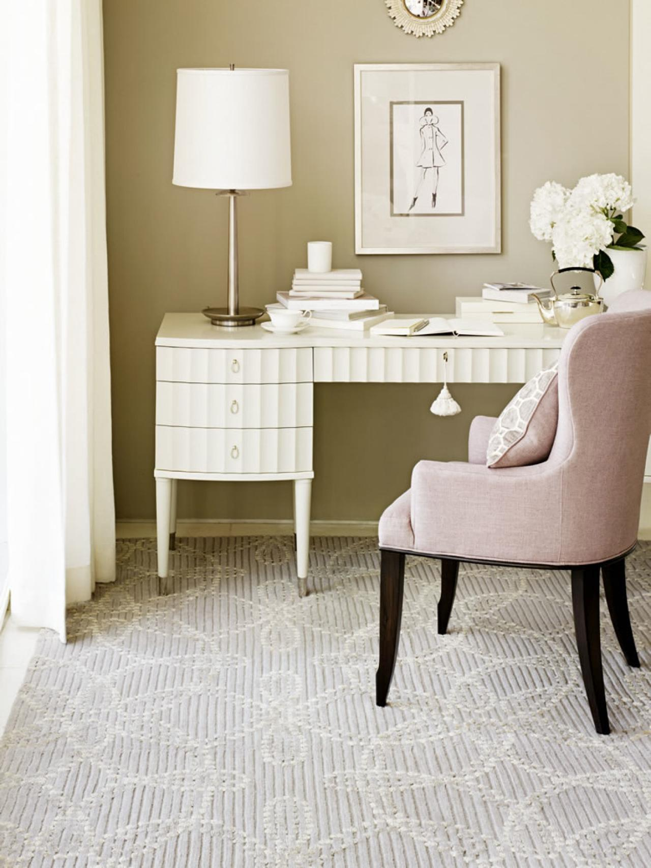 Choosing the best area rug for your space hgtv for Best carpet for home office