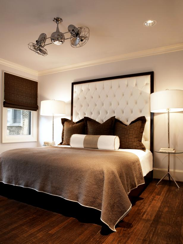 Modern Chocolate and Cream Bedroom With Unique Ceiling Fan Arrangement