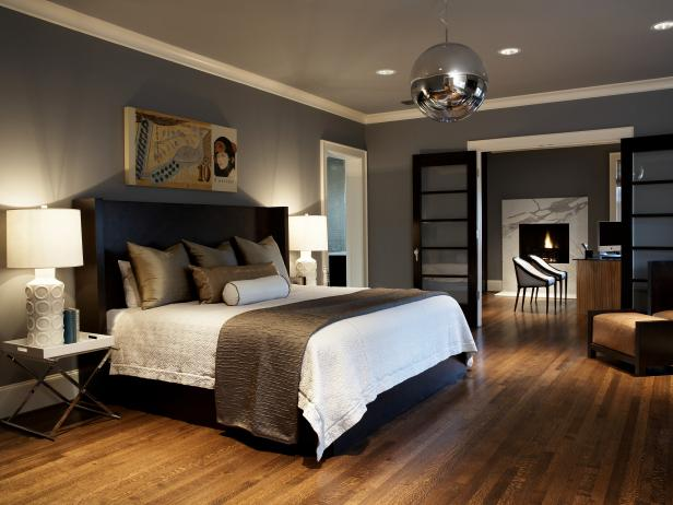 Gray Master Bedroom With Mirrored Ball Light