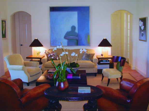 Neutral Living Room With Transitional Furniture and Artwork