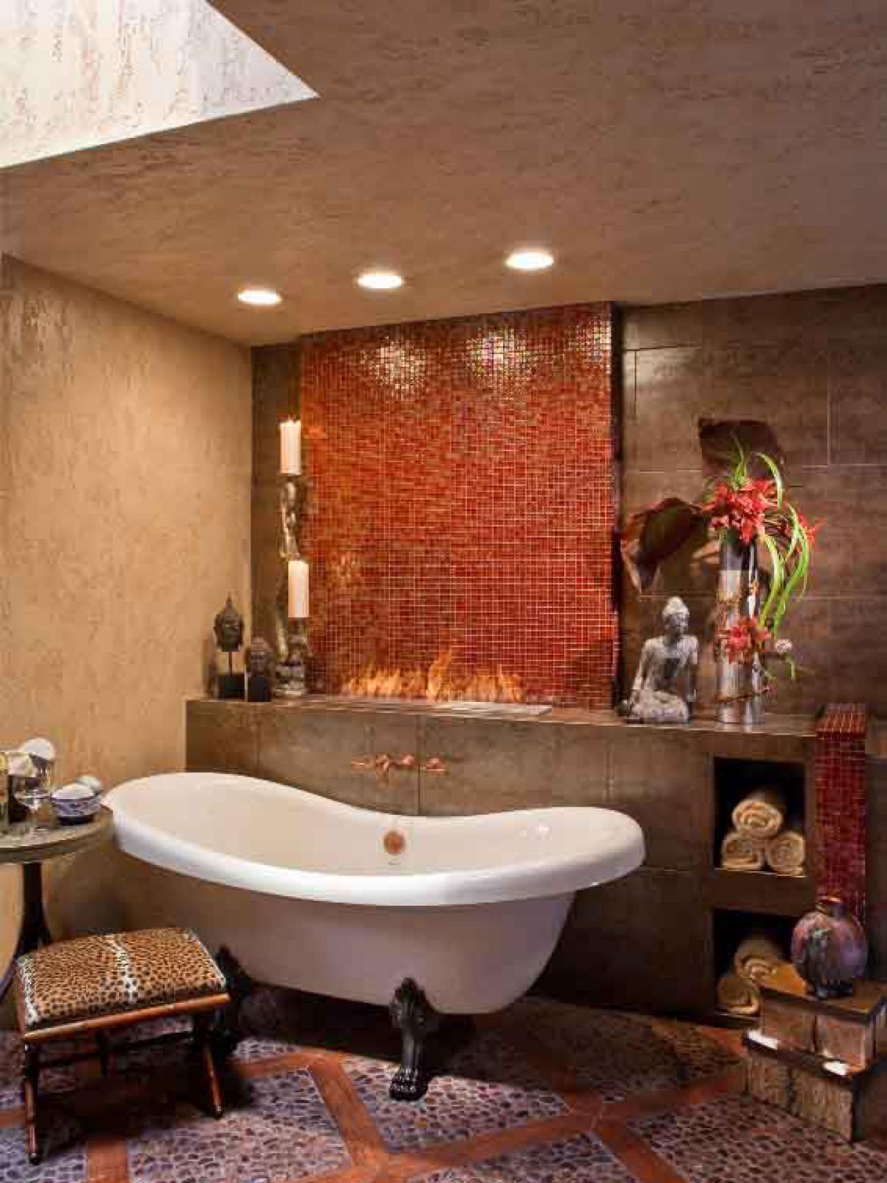Asian bathroom vanity cabinets - Contemporary Bathroom With Mosaic Tile Wall