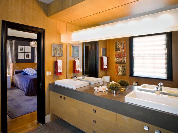 Brown Wood Double Vanity Bathroom