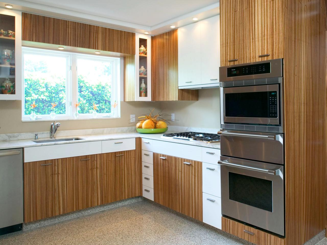 zebra wood cabinets kitchen modern bench galley kitchen