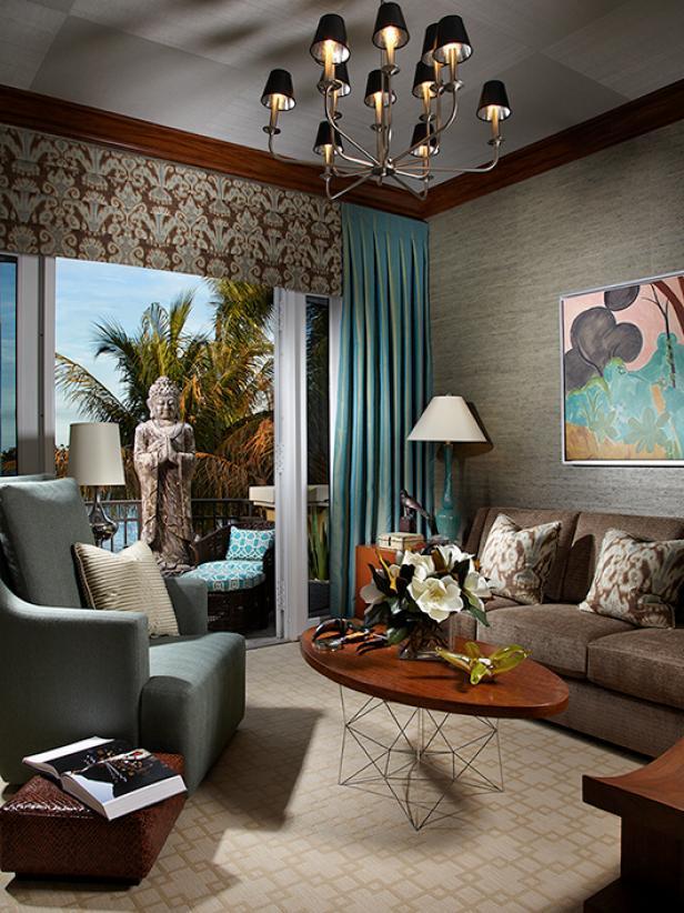 Gray Living Room With Bold Lighting