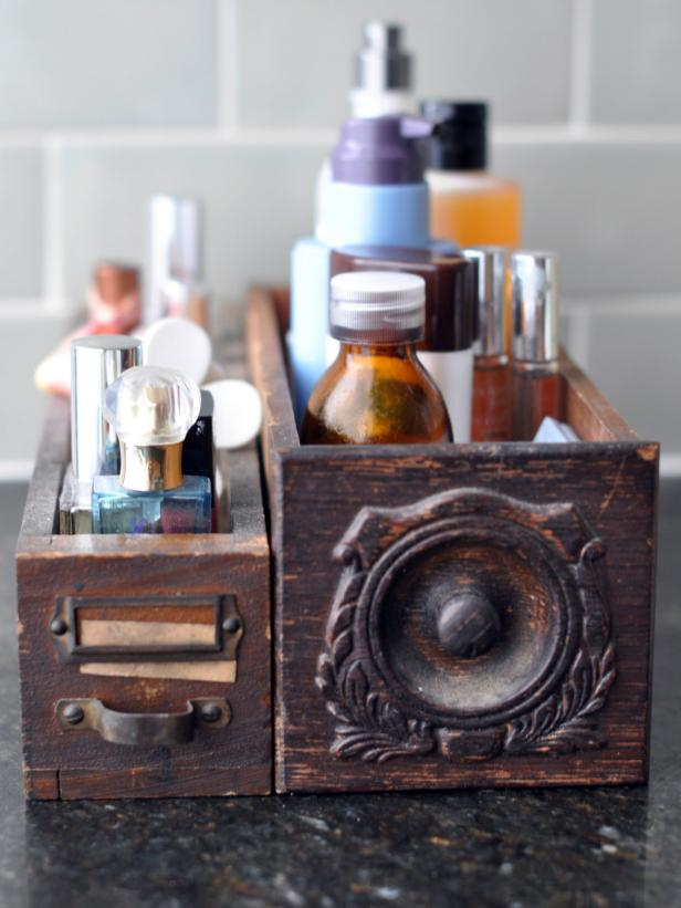 Contain Bathroom Clutter With Vintage Wooden Drawers