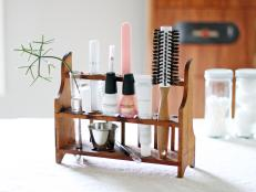 Vintage Wood Rack Holds and Organizes Grooming Accessories