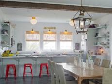 Vintage Lights Add Character to White Cottage Kitchen