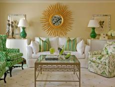 Transitional Living Room With Kelly Green Accents