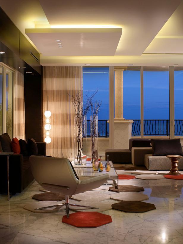 Living Room With Geometric Carpet Tiles