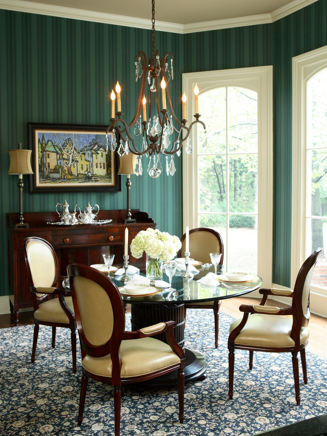 Emerald Green Dining Room With Striped Wallpaper Hgtv