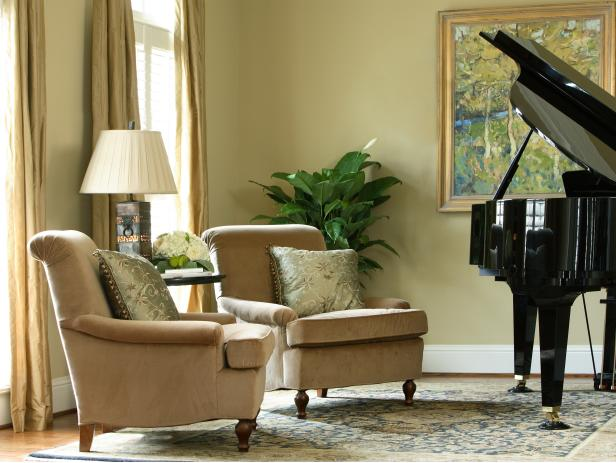 Neutral Living Room With Arm Chairs and Baby Grand Piano