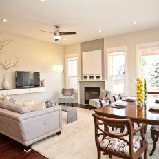 Combination Living Room Dining Room With White and Neutral Decor