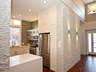 Open, Modern Kitchen With Textured Walls