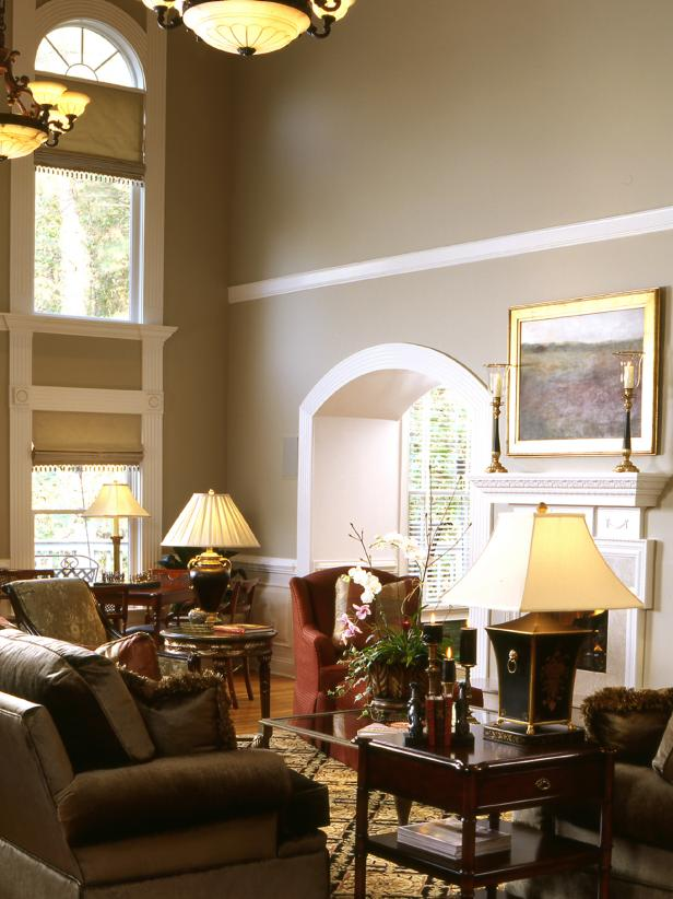 Traditional Sitting Room With Two Story Windows