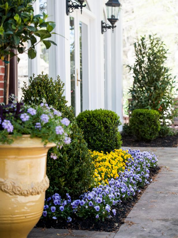 Outdoor Planter With Yellow and Purple Flowers