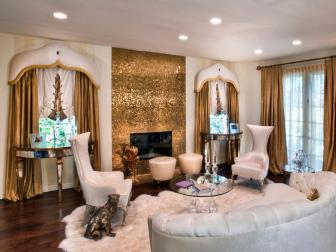Funky White Living Room with Gold Accents