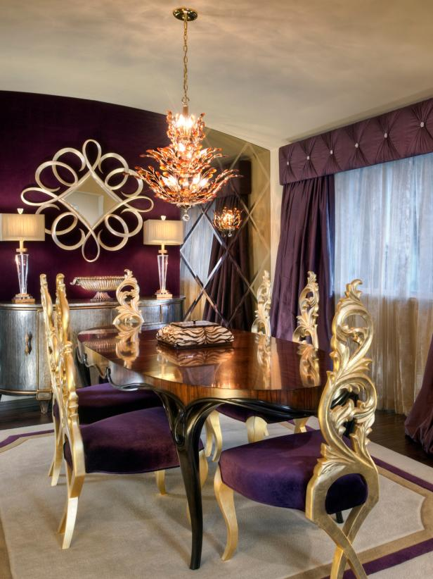 Eclectic Purple Dining Room With Gold Chairs