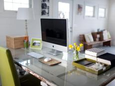 Vintage Wood Door as Desk in Contemporary Home Office