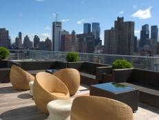 Modern Rooftop Patio With New York Skyline
