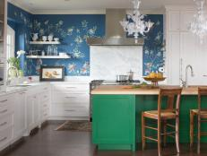 White Kitchen With Blue, Green and Floral Accents