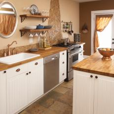 Cottage Kitchen With Butcher Block Countertops