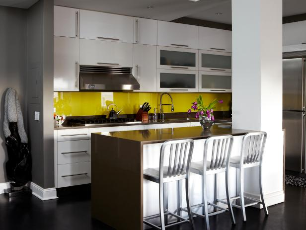 Modern White Kitchen With Neon Yellow Backsplash