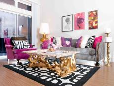 Glamorous, Fashion-Inspired Black, White and Pink Living Room