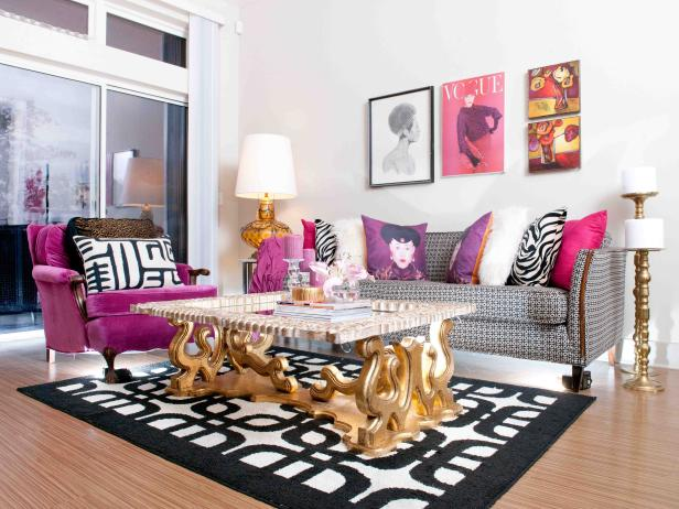 glamorous fashion inspired black white and pink living room