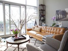 Gray Contemporary Living Room With Orange Leather Sofa