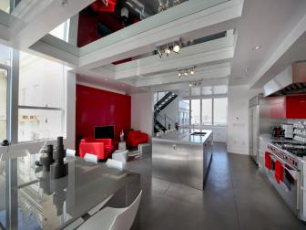 Gray, White, and Red Open Space Modern Kitchen