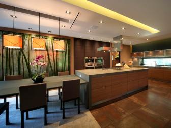 Contemporary Asian Kitchen With Lava Stone Countertops