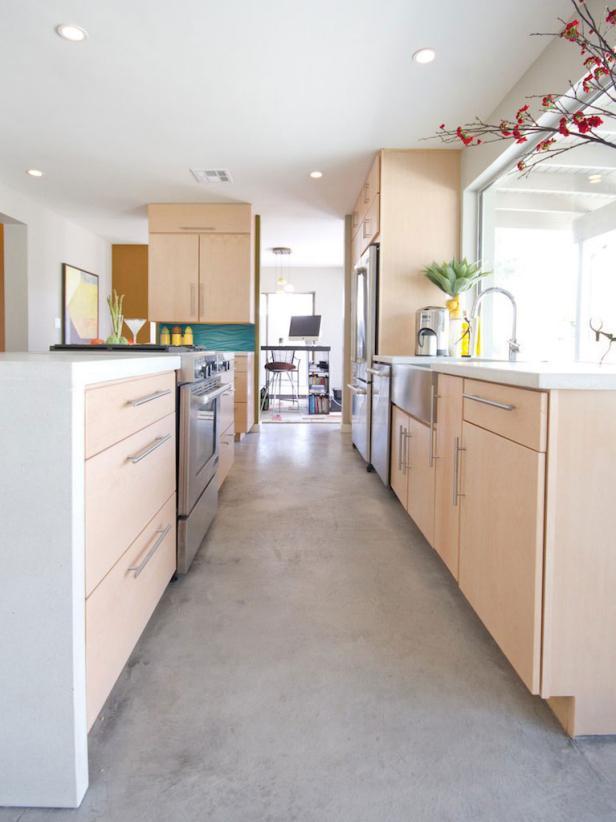 Bright Contemporary Galley Kitchen