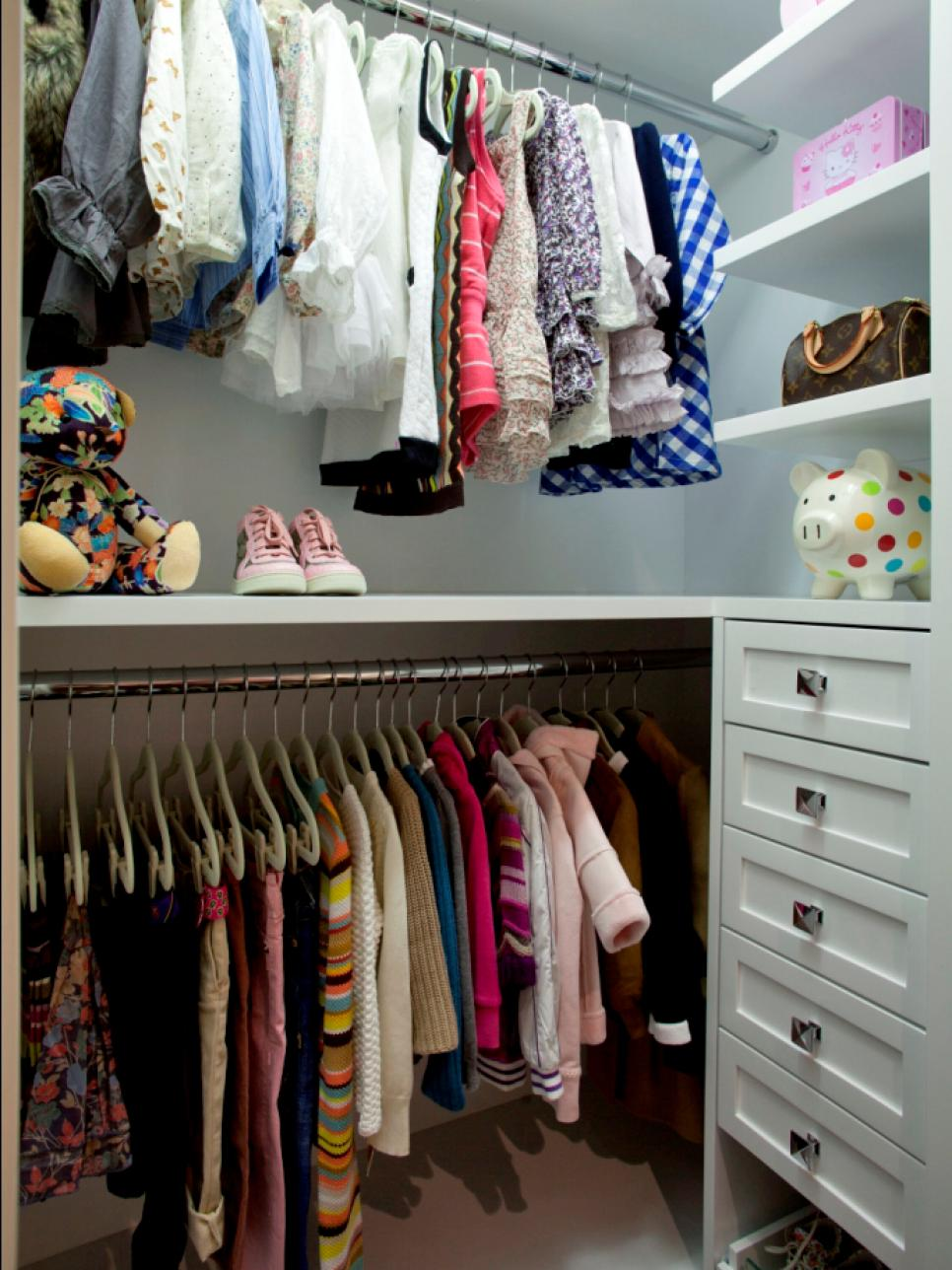 Kids 39 closet ideas hgtv for Kids room closet ideas