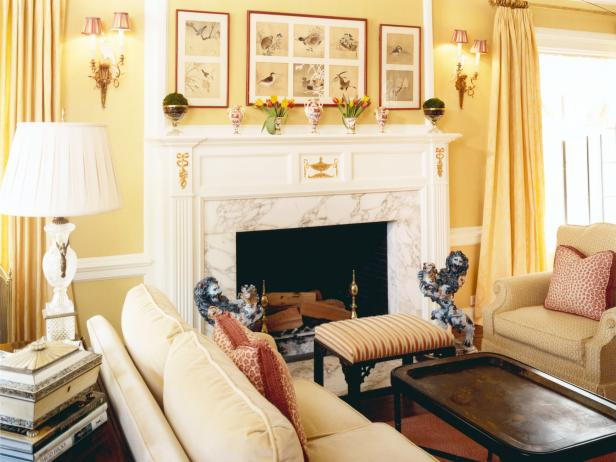 Traditional Yellow Living Room With Marble Fireplace