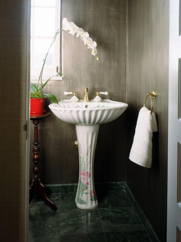 Gray Powder Room With Patterned Pedestal Sink