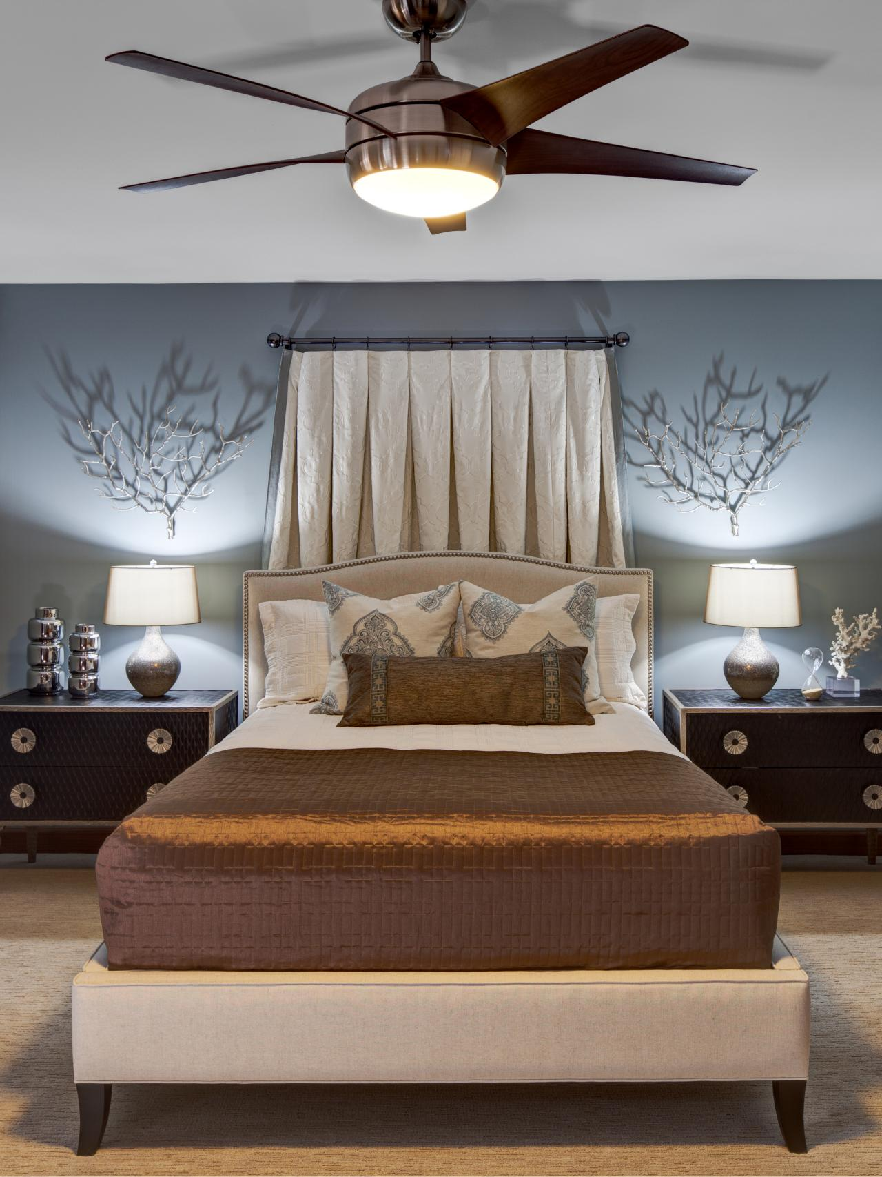 Blue bedroom with ceiling fan this designer bedroom Modern bedroom blue