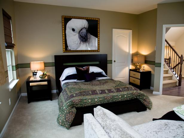 Neutral and Green Contemporary Bedroom With Bird Portrait