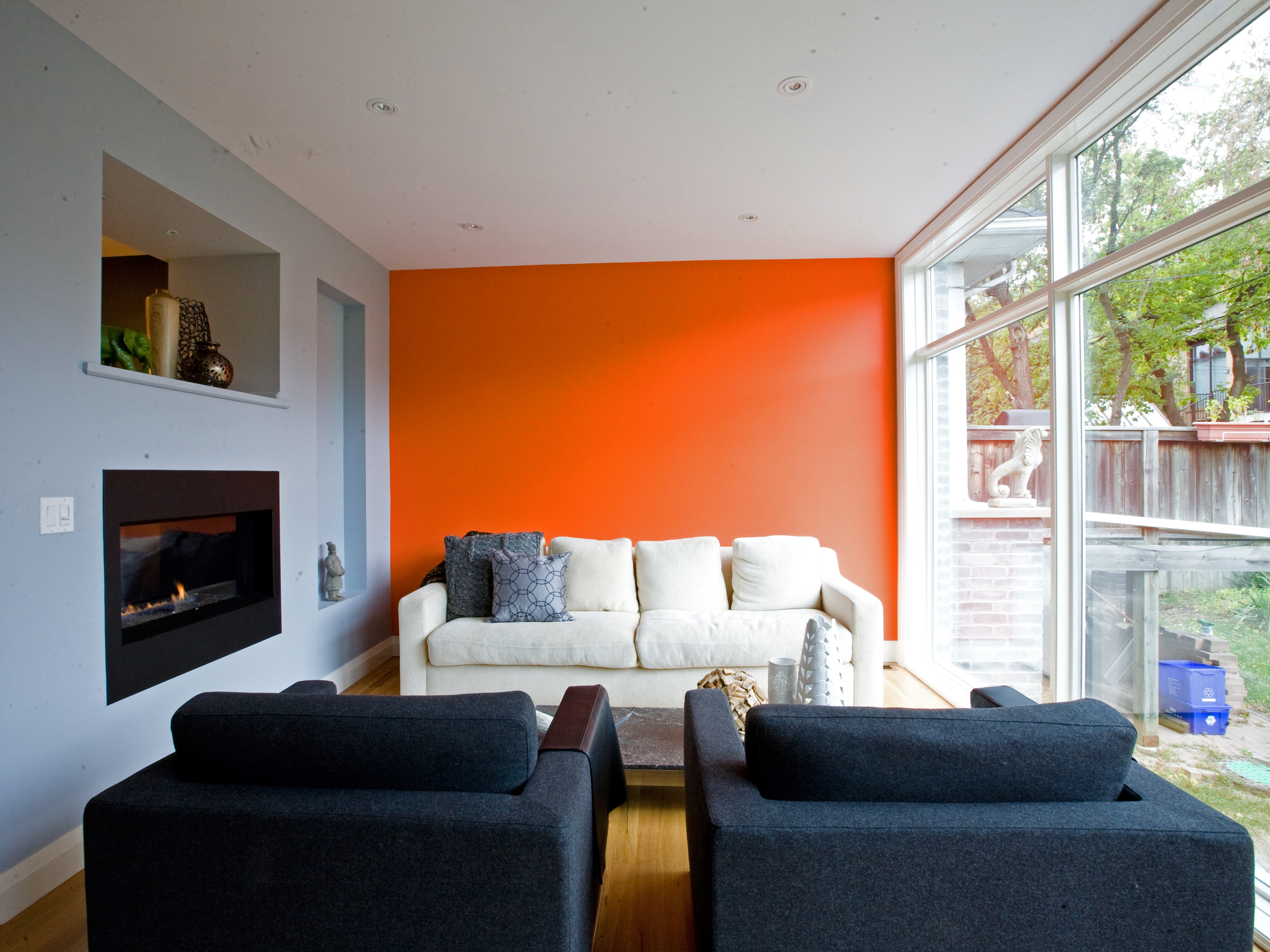 Bedroom paint ideas accent wall orange - Orange Accent Wall In Living Room Euskal Net