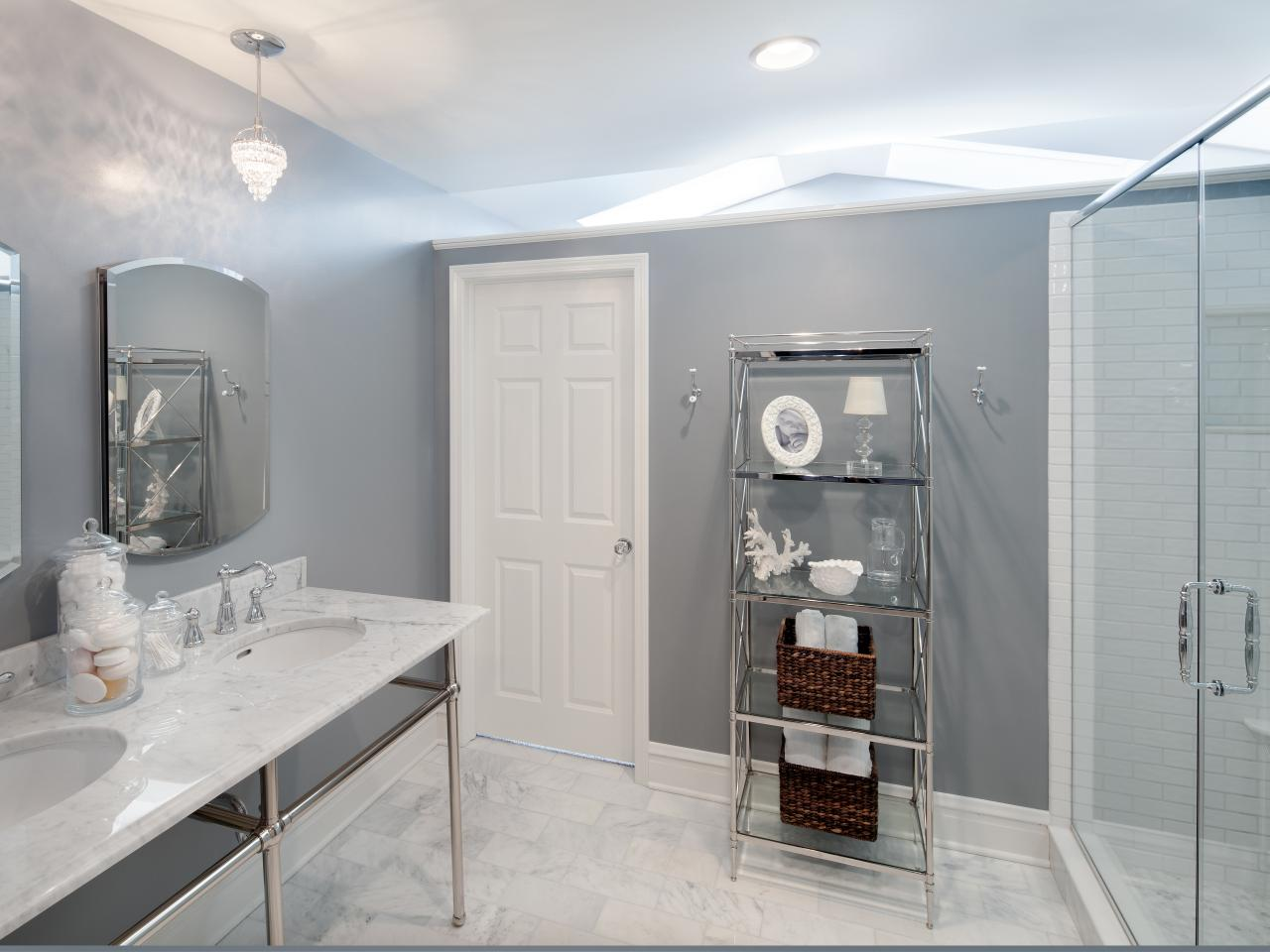 gray and white bathroom this crisp and contemporary bathroom