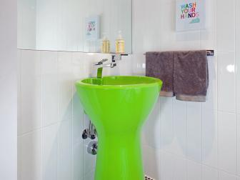 Kid's Bathroom With Lime Green Sink