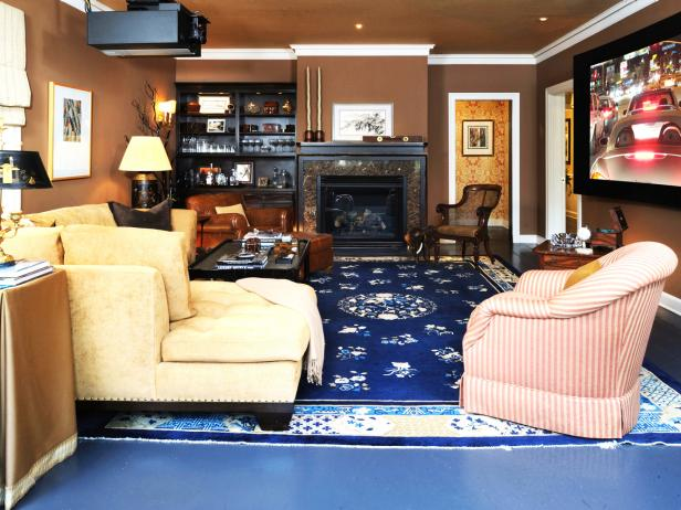 Brown Traditional Living Room With Fireplace and Blue Rug