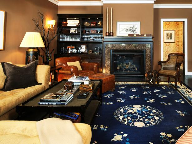 Traditional Brown Living Room with Blue Floral Area Rug