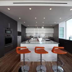 Gray Modern Kitchen With Island
