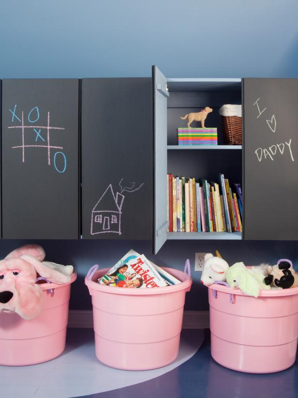 Kids' Playroom with Chalkboard Cabinets